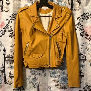 IRO Ashville Leather Yellow Moto Jacket